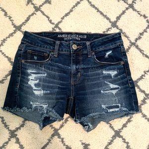 American Eagle Distressed Midi Jean Shorts
